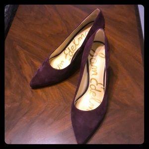 Sam Edelman suede heels with heel detail